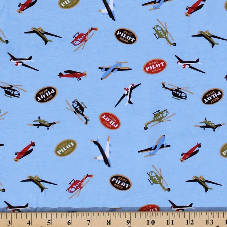 Cotton Knit Planes and Helicopters Pilot Fabric by the Yard Blue D342.13
