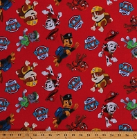 Cotton Paw Patrol Toss Rescue Dogs Chase Marshall Rubble Rocky Rubble Zuma Red Kids Cotton Fabric Print by the Yard (PW-4017-4C-1RED)