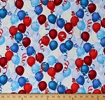 Cotton Patriotic Balloons Confetti Streamers Fourth of July Independence Day Celebration Party Decorations Red White and Blue Cotton Fabric Print by the Yard (Q4400-209-PATRIOTIC)