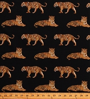 Cotton Tigers Jungle Animals Wildlife Wildcats on Black Tiger Tales Cotton Fabric Print by the Yard (22645-99BLACK)