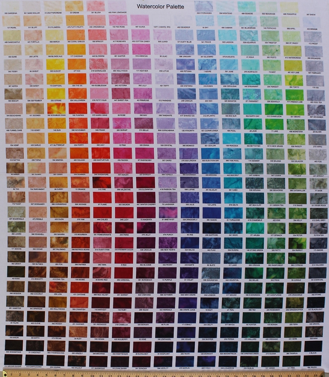365 X 44 Panel Watercolor Palette Color Spectrum Hues Hue Names Multi Cotton Fabric 1895D MULTI