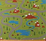Canvas J is for Jeep Roads Roadmap Mountains Tents Campfires Camping Travel Woodland Creatures Animals Foxes Squirrels Light Green Canvas Cotton Fabric Print by the Yard (VP6466-LTGREEN)