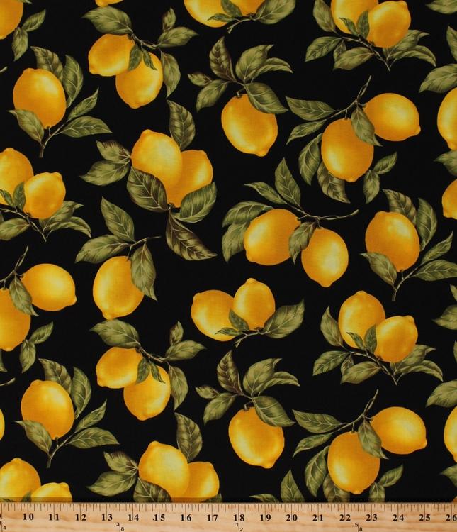 Cotton Lemon Fruit Lemons Leaf Cotton Fabric Print By The