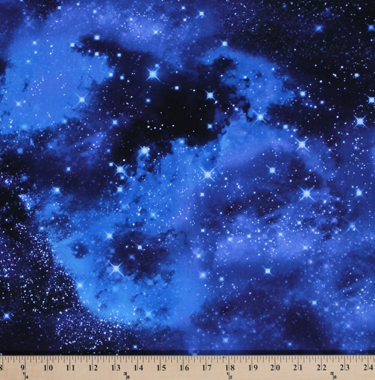 Cotton Outer Space Galaxy Stars Cotton Fabric Print By The