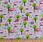 Cotton Pigs Cute Farm Animals Mice Birds Piglets Trees Flowers on Gray Julia Kids Cotton Fabric Print by the Yard (51125-2)