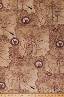 Cotton Gettysburg Battle Maps Civil War Battlefield History Patriotic Dark Tan Cotton Fabric Print by the Yard (1649-22758-A)