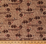 Cotton The Battle of Gettysburg American Civil War Battlefields Battle Names History Historical Patriotic Brown Cotton Fabric Print by the Yard (1649-22760-A)