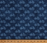 Cotton Bicycles Bikes Transportation Travel Cycling Paris Blue Cotton Fabric Print by the Yard (22360-44)