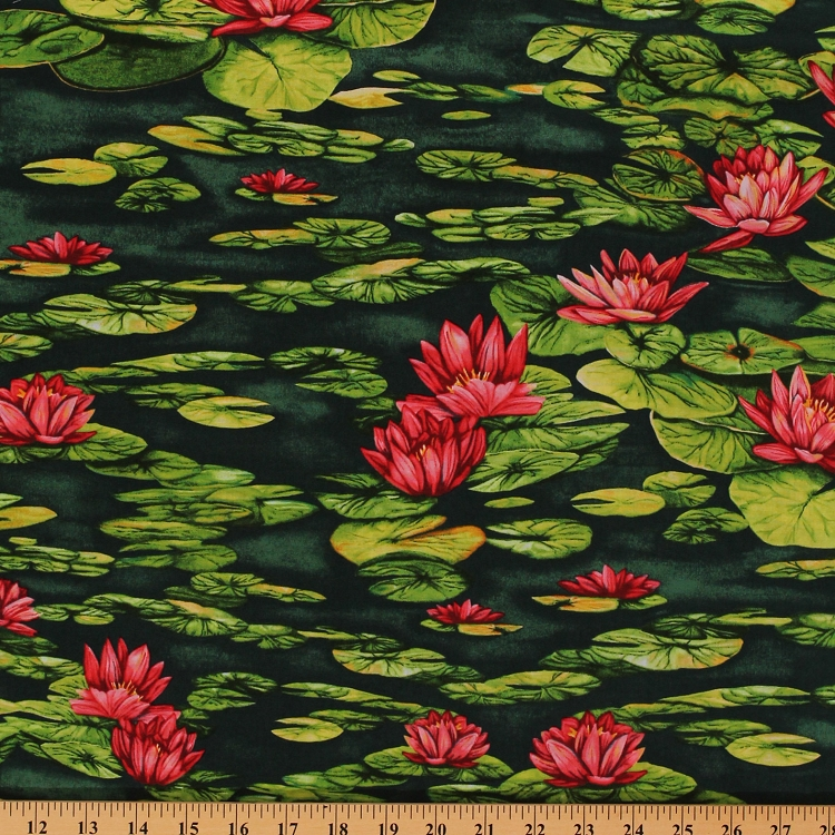 Cotton Water Lilies Water Lily Flowers Flower Green Lake Pond Floral Nature Cotton Fabric Print by the Yard (Y1157-22)