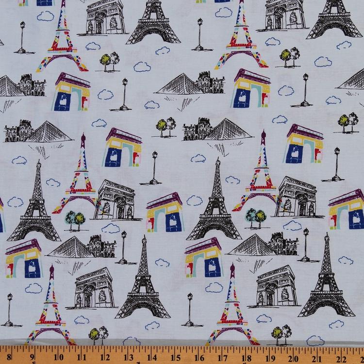 Cotton Blue Eiffel Tower Paris France Europe Sketch City