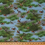 Cotton Ducks Birds Pond Swamp Wildlife Animals Lakeside Nature Cotton Fabric Print by the Yard (50199-X)