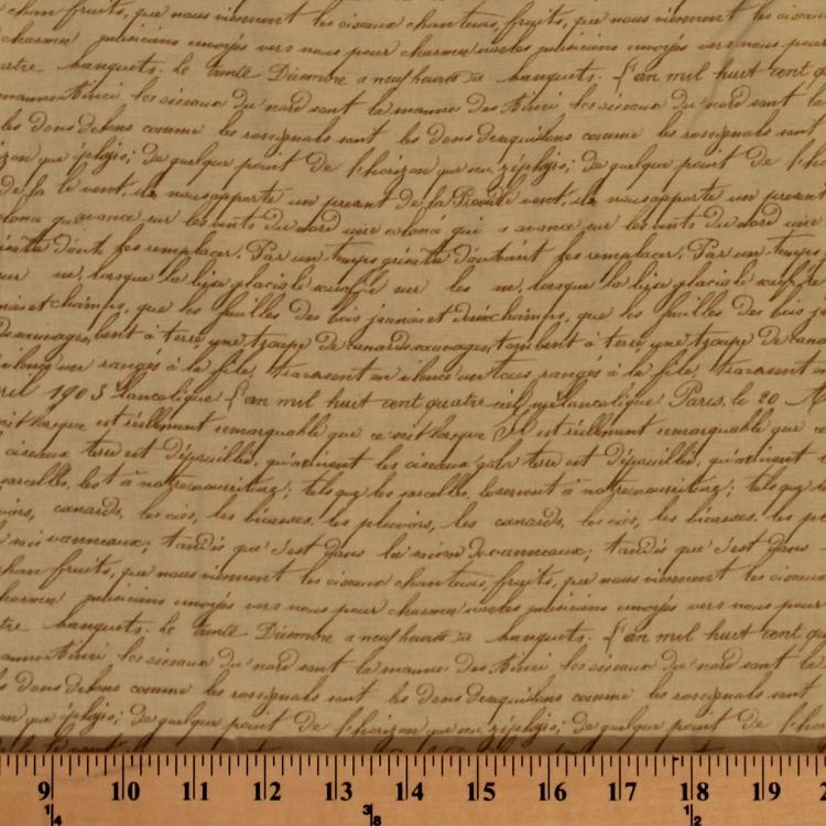 Cotton French Roosters Tan Script Words Font Paris Cotton