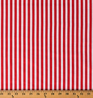 Cotton Coral Red and White Stripes Vertical Stripes Patriotic Nautical Striped Cotton Fabric Print by the Yard (DT-281-2B-2CORAL)