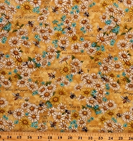 Cotton Bees Honeybees Honeycomb Bee Kind Flowers & Works Gold Beekeepers Cotton Fabric Print by the Yard (120-99201)