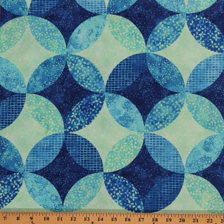 Cotton Ambience Coordinate Lagoon Blue Geometric Circles