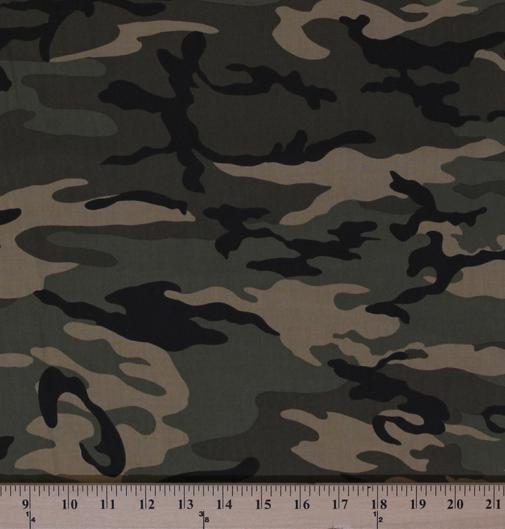 Cotton Urban Camo Camouflage Olive Cotton Fabric Print By