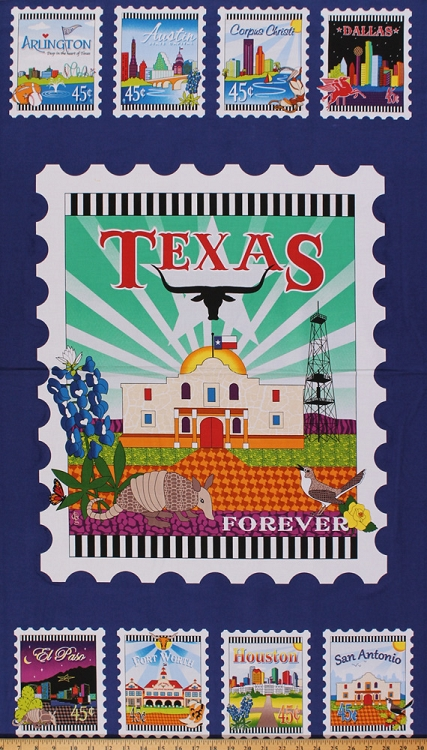 24 Quot X 44 Quot Panel Quilt Across Texas Postage Stamps Cities