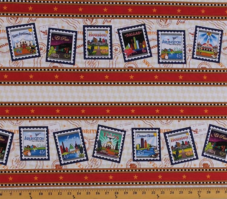 Cotton Quilt Across Texas U.S. Postage Symbols Stamps Mail