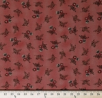 Cotton Jo Morton Hickory Road Pansies Pansy Flowers Floral on Brick Red Civil War Historical Reproduction Cotton Fabric Print by the Yard (38060-18)