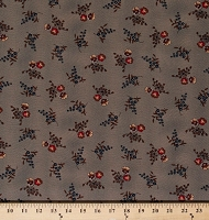 Cotton Jo Morton Hickory Road Pansies Pansy Flowers Floral on Indigo Blue Civil War Historical Reproduction Cotton Fabric Print by the Yard (38060-17)