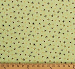 Cotton Bees Bumblebees Honey Bees Crowns on Green Beekeeping Beekeepers Bee My Sunshine Cotton Fabric Print by the Yard (43317-4)