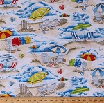 Cotton Beach Scenes Umbrellas Chairs Seagulls Beach Balls Sand Ocean Summer Vacation Cotton Fabric Print by the Yard (BEACH-C6533-SAND)
