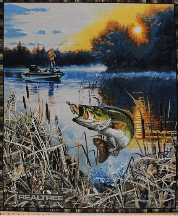 36 Quot X 44 Quot Panel Realtree Bass Fishing Fisherman Fish