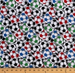 Cotton Packed Soccer Balls Multi-Color Sports Cotton Fabric Print by the Yard (DT-4999-5C-1BLACK/MULTI)