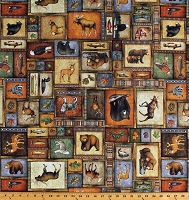 Cotton Northwoods Animals Wildlife Collage Deer Bears Moose Wolves Hunting Fishing Lodge Cabin Timberland Trail Cotton Fabric Print by the Yard (1649-26805-X)