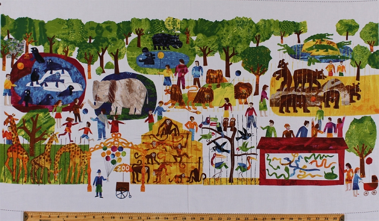 24 Quot X 44 Quot Panel Eric Carle 1 2 3 To The Zoo Scene Animals