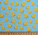 Cotton Ducks Ducklings Birds Animals Quackers on Blue Kids Baby Cotton Fabric Print by the Yard (1649-27056-B)