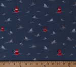 Cotton Lighthouses at Sea Shark Fins Water Waves Lake Ocean Nautical Cotton Fabric by the Yard (C9011)