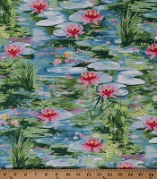 Cotton Landscape Lily Pads Water Lilies Lotus Flowers Floral Pond Nature Scenic Cotton Fabric by the Yard (CX1791-Blue-D)