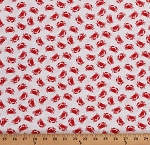 Cotton Crabs Ocean Crustaceans Animals Beach Nautical Red Crabs on White Shoreline Cotton Fabric Print by the Yard (50114-2)