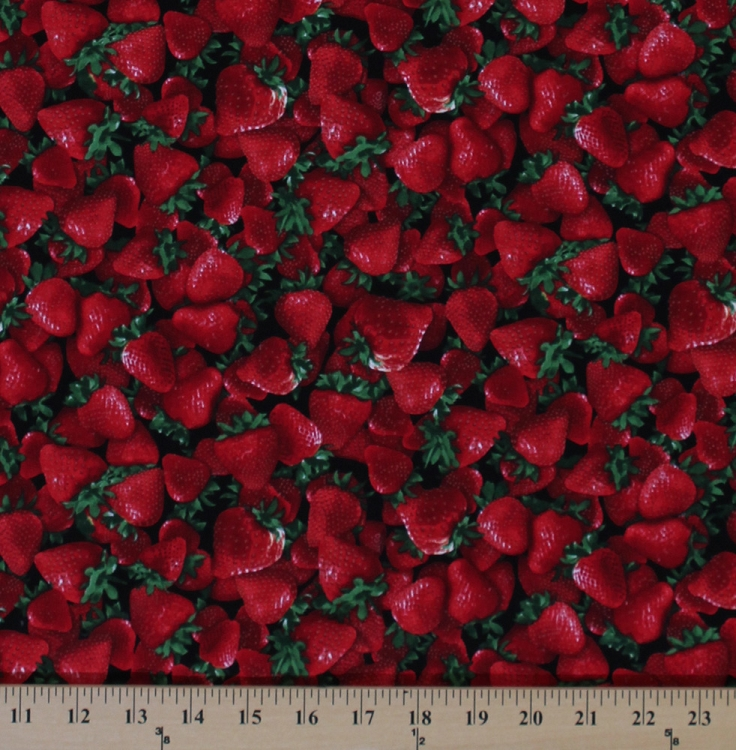 Cotton Red Strawberries Strawberry Fruits Cotton Fabric