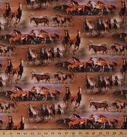 Cotton Horses in the Field Wild Horses Running Animals Southwest Ranch Western Cotton Fabric Print by the Yard (WW-2017-3C-1BROWNS)