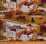 Cotton Farmall Tractors Barns Four Seasons Scenic Farm Country Cotton Fabric Print by the Yard (10117)