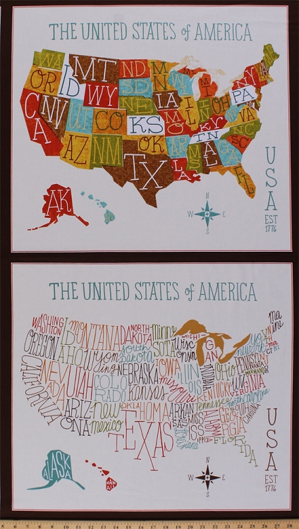 235 x 44 panel explore america usa state name abbreviations 235 x 44 panel explore america usa state name abbreviations states names initials school words american patriotic brown cotton fabric panel gumiabroncs Gallery