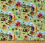 Cotton Garden Gnomes Working Gardening Fairytale Gnome and Gardens Main Green Kids Cotton Fabric Print by the Yard (C7890-Green)