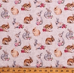 Cotton Bunny Love Bunnies Rabbits Cute Animals Flowers Roses Spring Cotton Fabric Print by the Yard (22763-11CREAM)