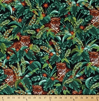 Cotton Jaguars Jungle Animals Wild Cats Forest Wildlife Green Cotton Fabric Print by the Yard (FUN-C6581-FOREST)
