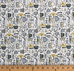 Cotton Purses Shopping Bags Shoes High Heels Fashion Accessories Girls Night Out Gray Yellow Cream Cotton Fabric Print by the Yard (43074-1)
