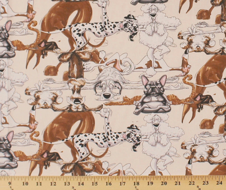 Funny Animals Yoga Poses Stretches Stretching Dalmatians Poodles Great Danes French Bulldogs Cream Kids Cotton Fabric Print By The Yard Mike C1979