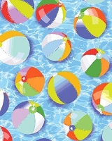 Cotton Beach Balls on Blue Summer Pool Water Just Beachy Cotton Fabric Print by the Yard (05563-99)