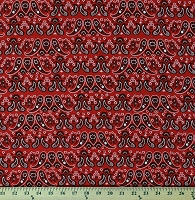 Cotton Red Paisleys Paisley Flowers Floral Bandana Western America Home of the Brave Patriotic Cotton Fabric Print by the Yard (4628-88)