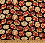 Cotton Pizza Bagels Mini Pizzas Snacks Junk Food on Black Tail Gating Cotton Fabric Print by the Yard (05504-12)