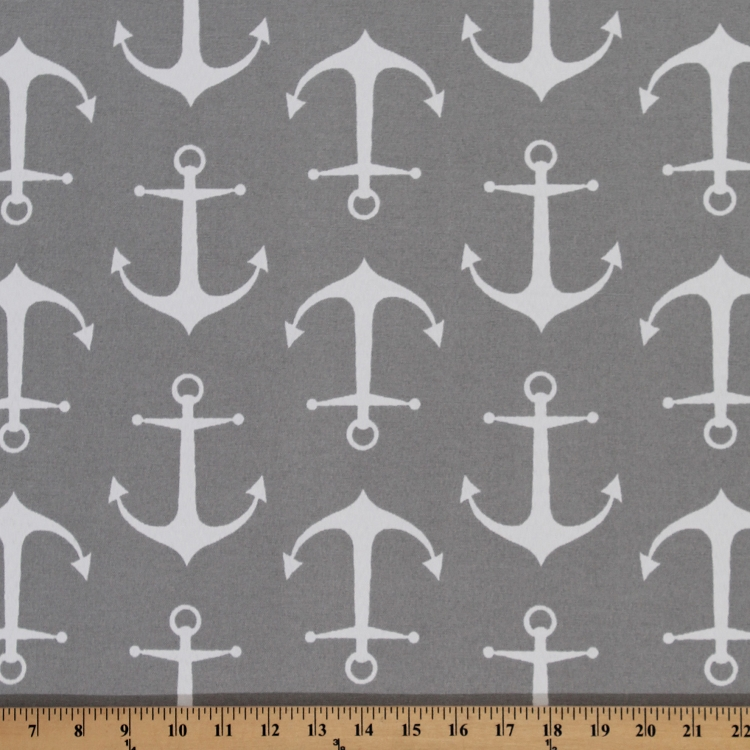 Anchors Sailor Gray Nautical Indoor/Outdoor Upholstery Fabric by the ...