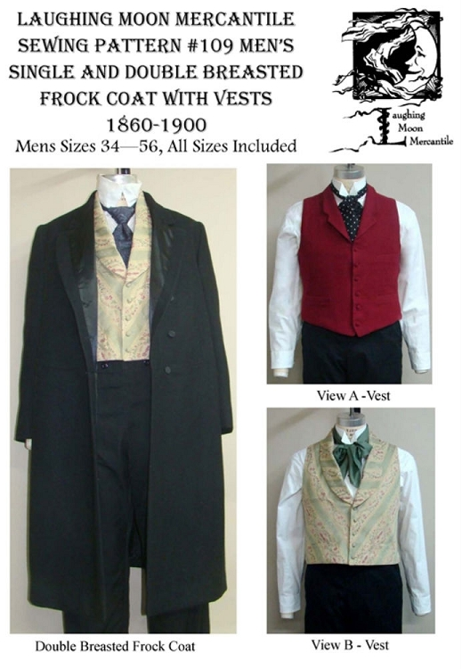 Men\'s Single & Double Breasted Frock Coats with 2 Vests Sewing ...