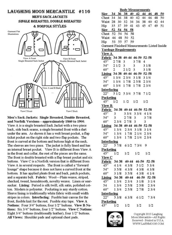 Men\'s 1860-1900 Sack Jackets Sewing Pattern #116 (Pattern Only)
