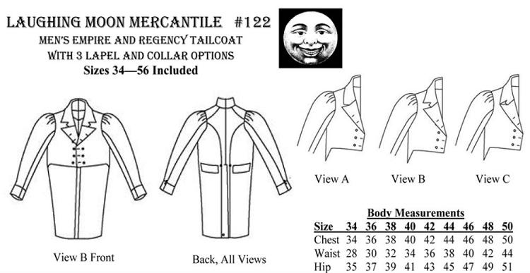 Men's Empire Regency Tailcoat Coat Sewing Pattern 40 Pattern Only Stunning Mens Coat Patterns